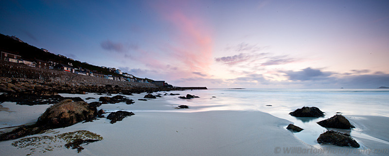 Cornwall Sennen Cove Panoramic Photo at Sunset by Will Barton Photography