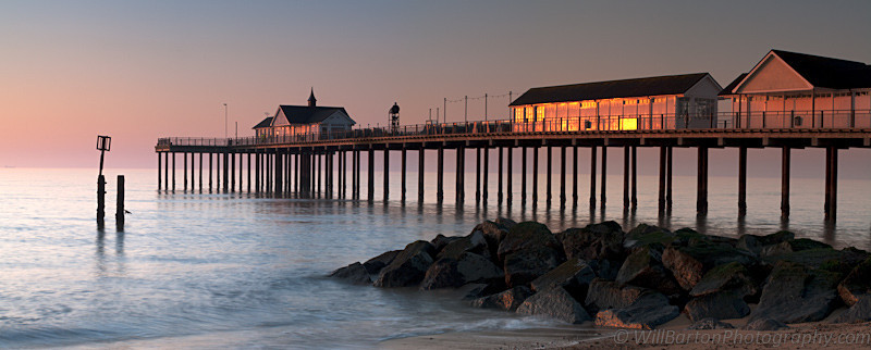 Southwold Pier Panoramic Photo at Sunrise, Suffolk by Will Barton Photography