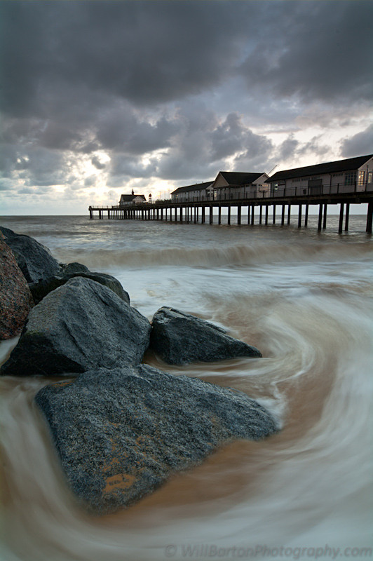Southwold Pier & Stormy Sky Photo at Sunrise, Suffolk by Will Barton Photography