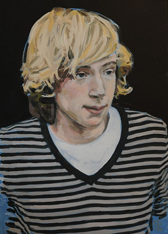 Portrait painting of a boy in oil on canvas