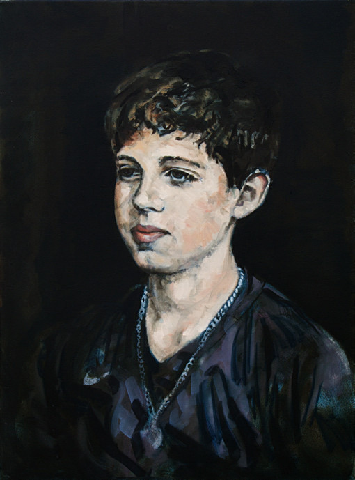 Portrait of young man in oil on canvas