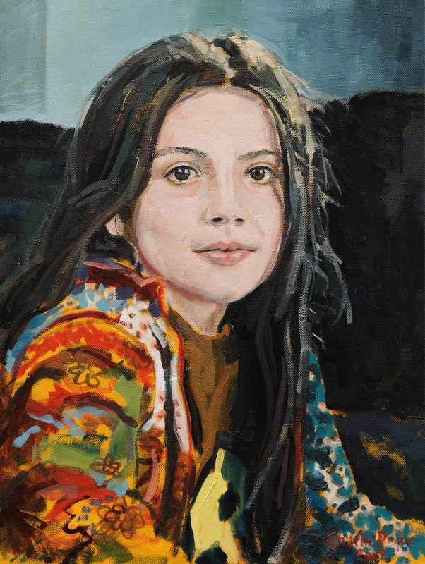 Portrait of a young girl, oil on canvas