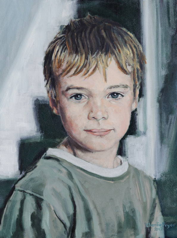 Portrait of a young boy, painted in oil on canvas