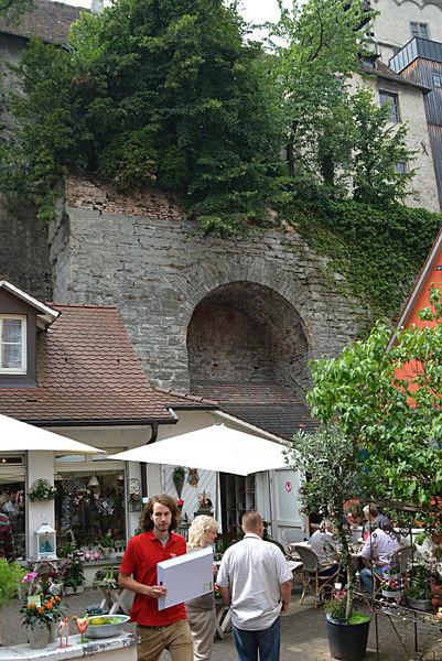 Shops alongside the Castle Walls - Our Travels