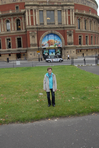 My wife in front of Royal Albert Hall - Royal London Tour