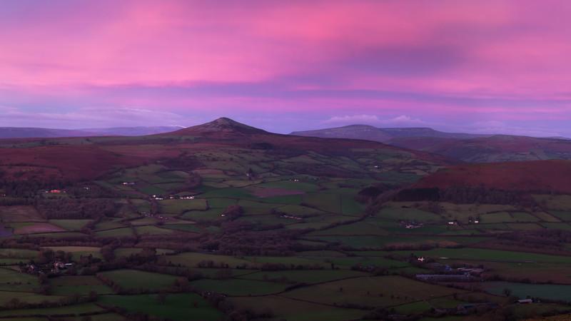 Twilight at Sugar Loaf, Wales.