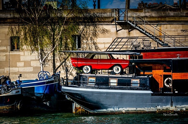Red Car on a Boat - Paris