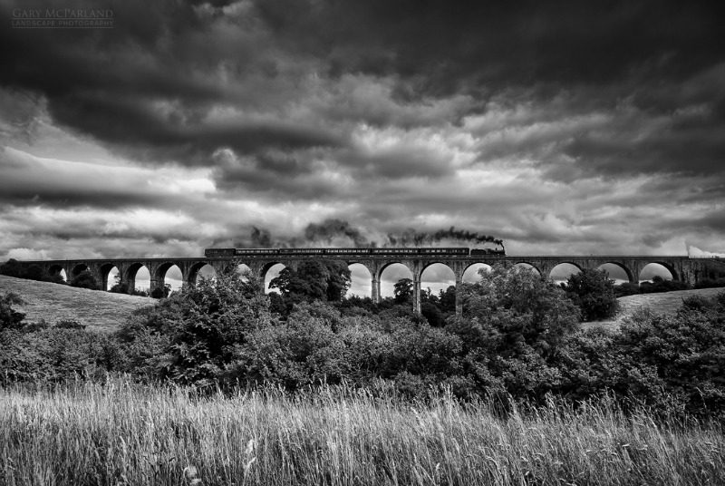 Craigmore Viaduct & the Steam Train - Black & White