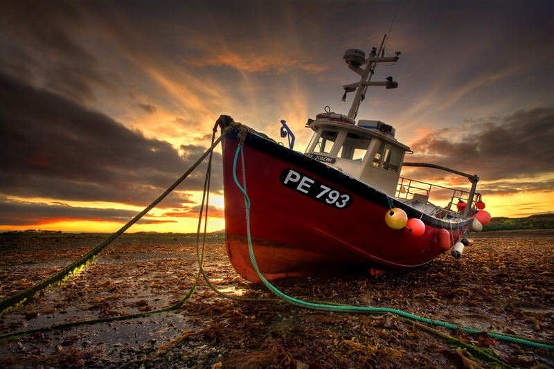 Red Fishing Boat - Co Louth