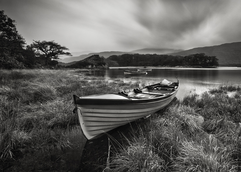 Boats On The Lake - Black & White
