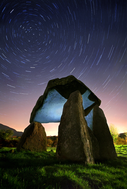 Startrails at Ballykeel Dolmen in Co Armagh in N Ireland