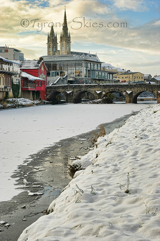 Strule river frozen over in Omagh