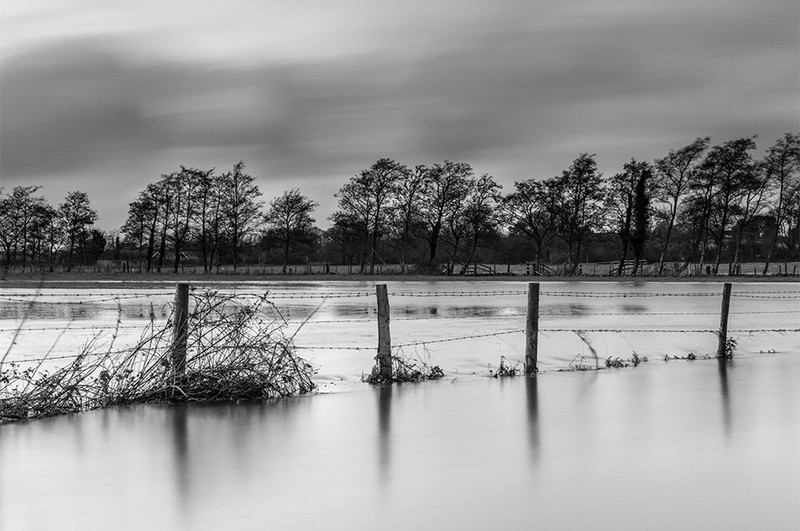 River Frome Floods, Dorchester, Dorset - Black & White Scenic