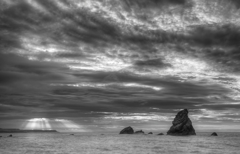 Early Morning at Mupe Bay - Black & White Scenic