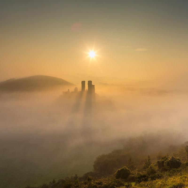 Castle in the Mist 2 (Square), Corfe Castle, Dorset - Dorset Landscapes