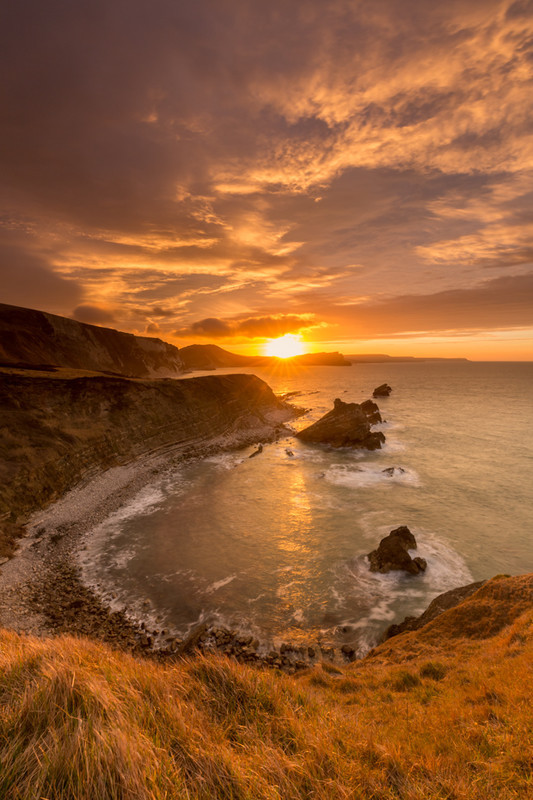 Spring Sunrise over Bacon Hole (Mupe Bay), Dorset - Dorset Seascapes
