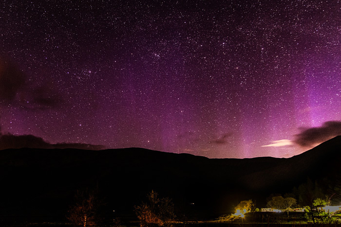 Aurora over the caravan park, Invercoe - The Sun, the Moon, and the Stars!