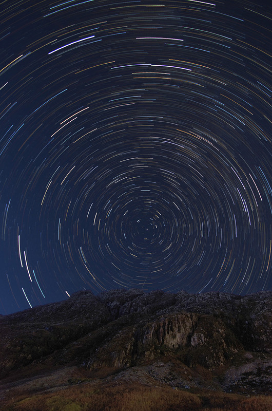 Star Trail over part of Aonach Eagach Ridge, Glencoe - The Sun, the Moon, and the Stars!