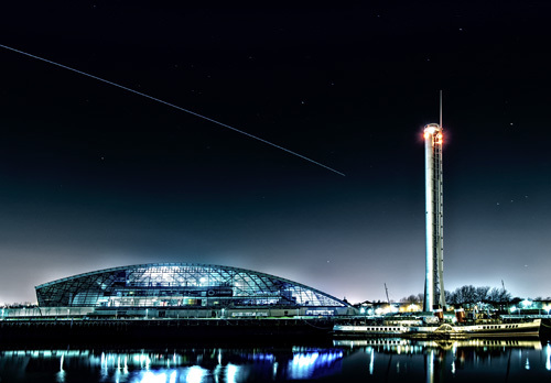 ISS's 'Star Trail' over the Science Centre, the Tower and the Waverley - The Sun, the Moon, and the Stars!