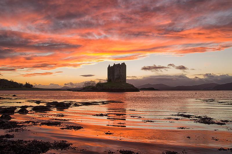 Sunset at Castle Stalker Loch Linnhe