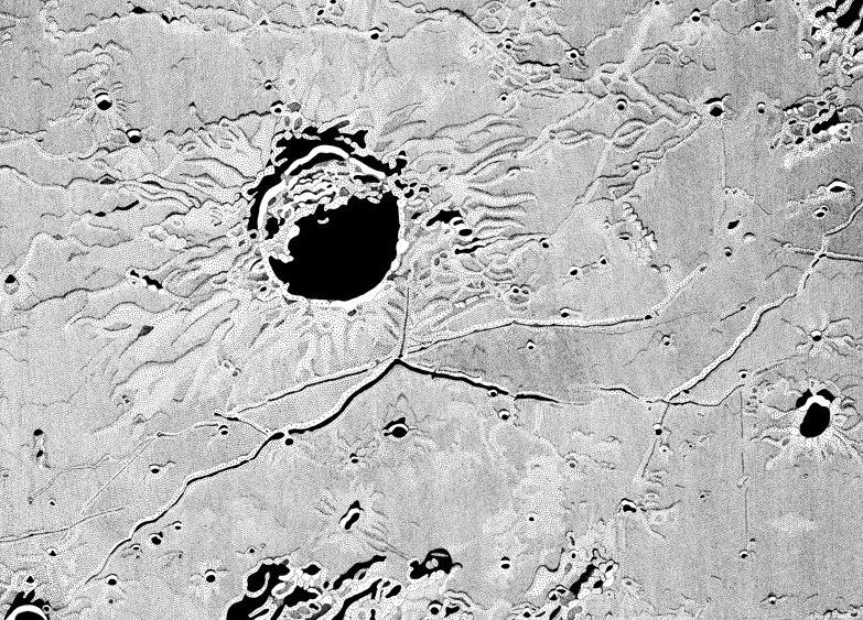 Triesnecker Crater and Rimae - Milan Blazek's Ink Drawings