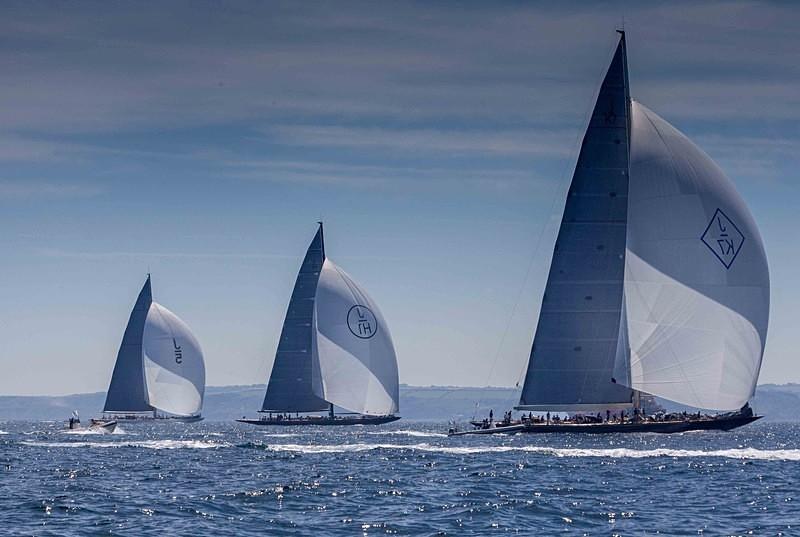 Valsheda, Lionheart and Ranger in Falmouth Bay - J Class Yachts Racing at Falmouth