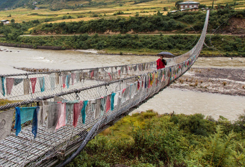 Bridge over the Punakha River - Bhutan