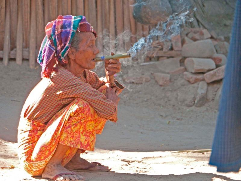 Burmese cigar smoker