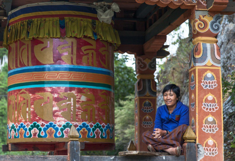 Prayer wheel turner - Bhutan