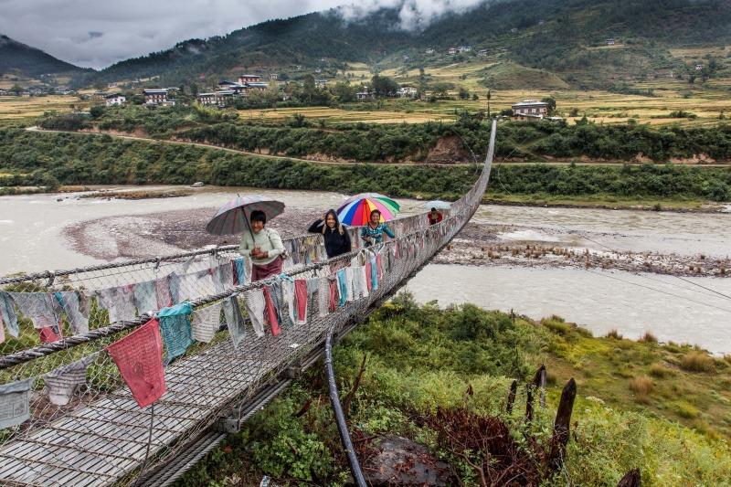 Bridge overt the Punakha River - Bhutan