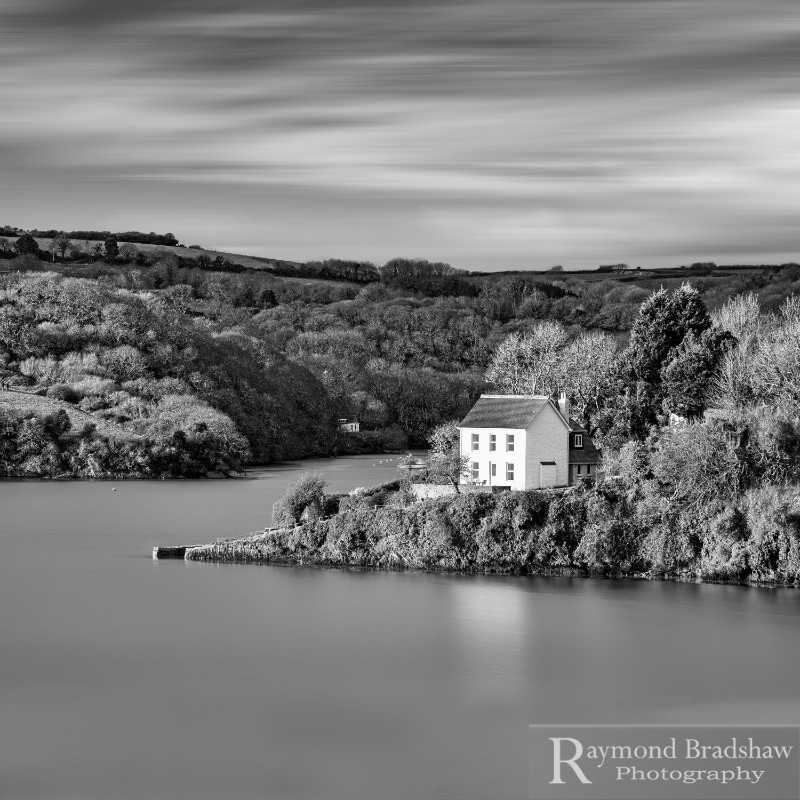 The Little House On The River. - Square minimal black & white .
