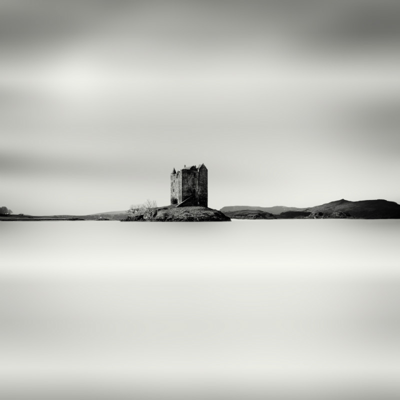 Highland Retreat . - Square minimal black & white .