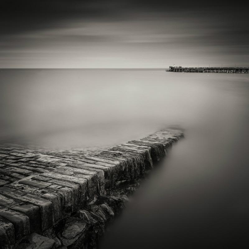 On The Edge. - Square minimal black & white .