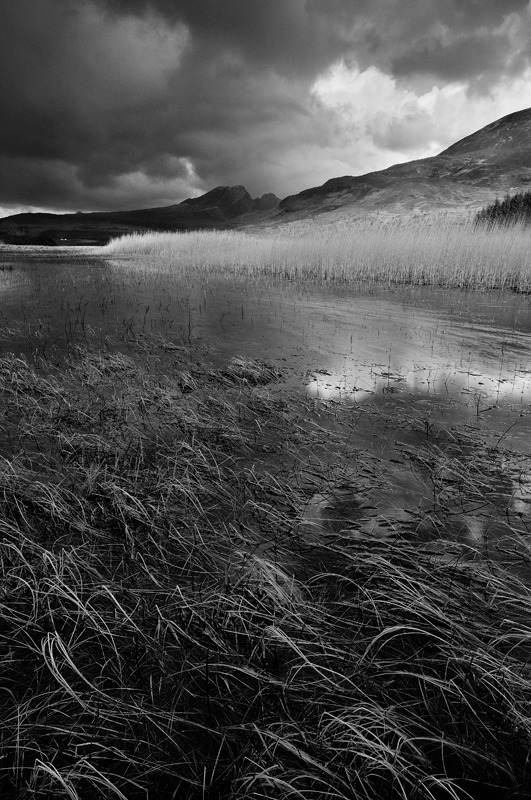 Blaven from Loch Cil Chriosd - Black and White