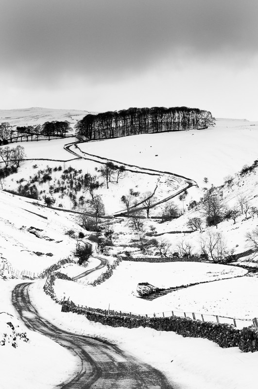 Cam Gill Road Kettlewell - Black and White