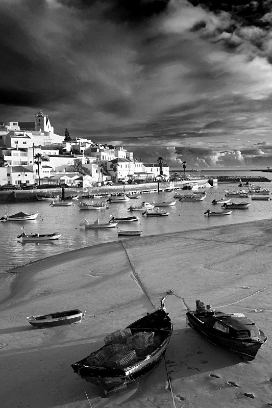 Low Tide at Ferragudo - Black and White