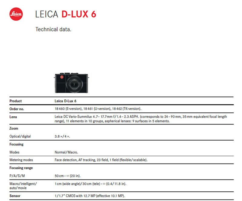 Specifications 1 of 3 - D-Lux 6