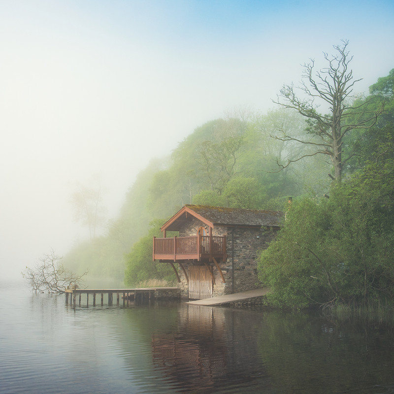 The old Boathouse in the mist - Lake District