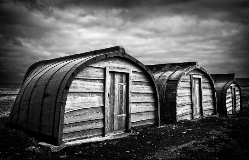 Sea shacks, Lindisfarne - Monochrome