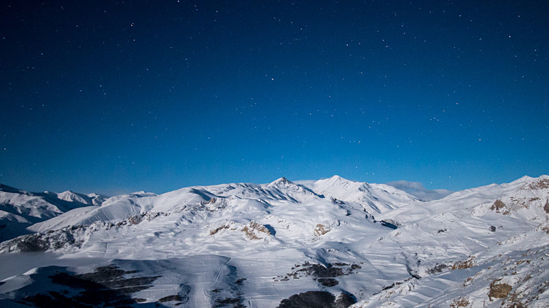 Azerbaijan winter mountains by starlight