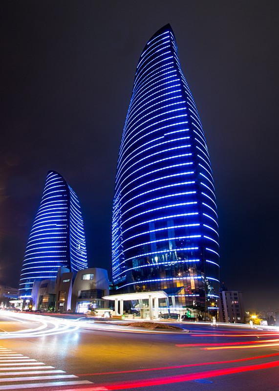 Flame Towers by Night - Azerbaijan