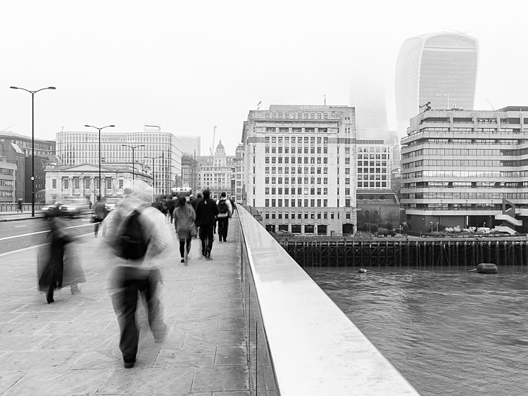 Commuters on London Bridge (2) - Street Photography