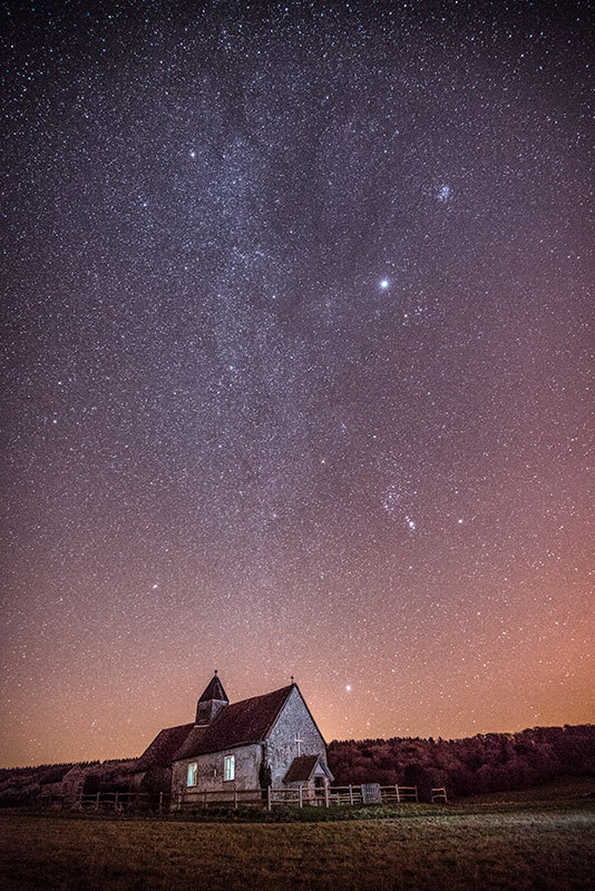 The Milky Way above St. Hubert's Church, Idsworth