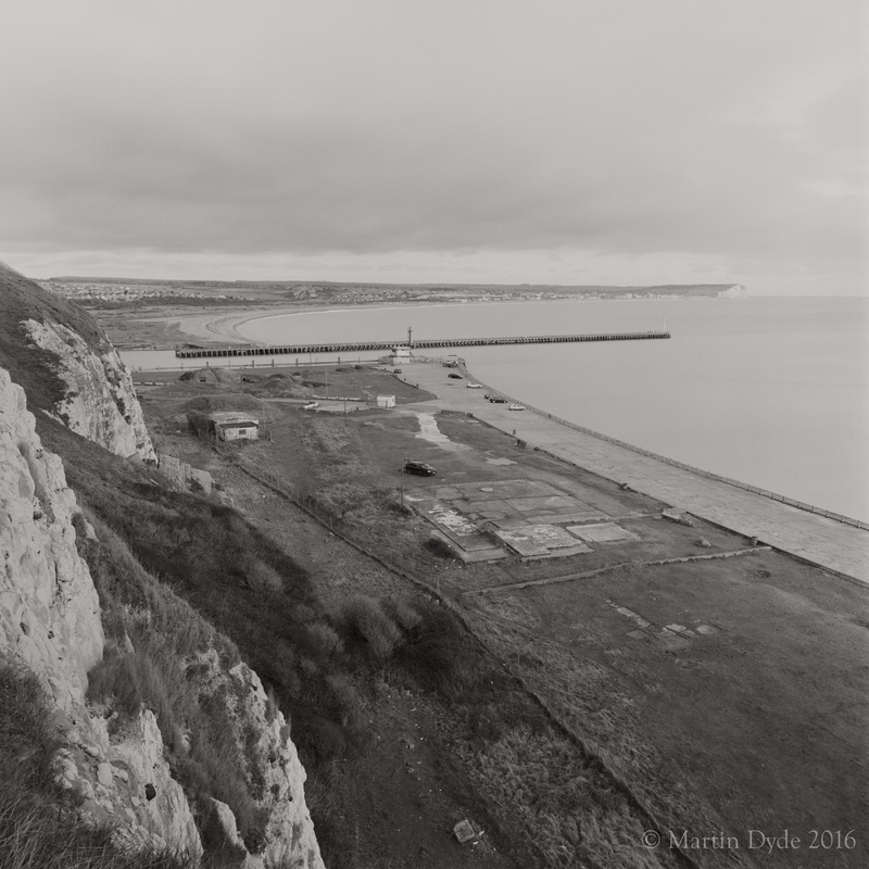 Newhaven Harbour entrance and car park | The Silver Monochrome: black-and-white film photography by Martin Dyde