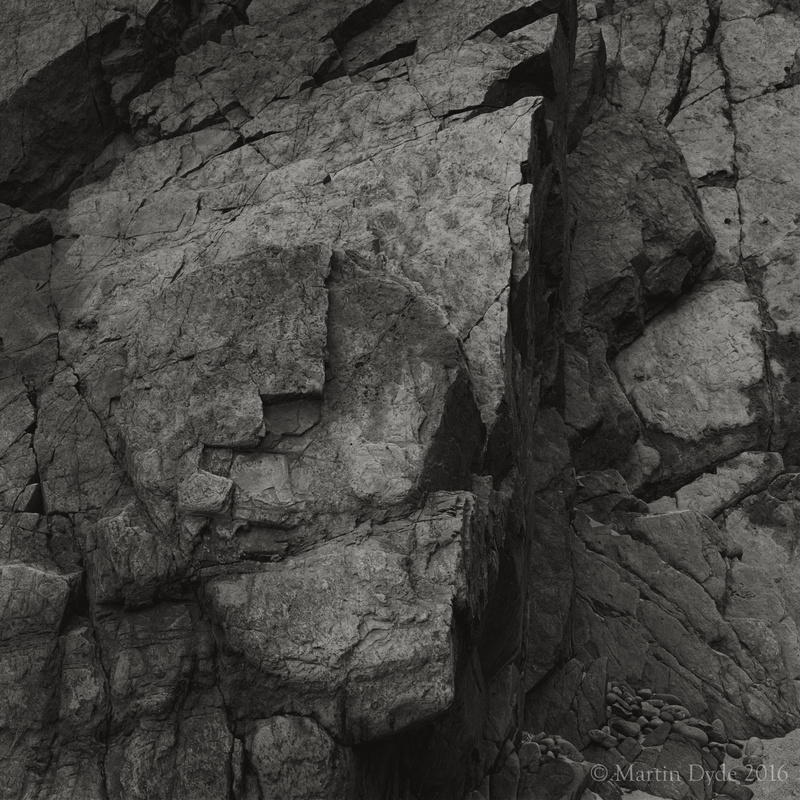 Shapes in cliff rock, Marloes Sands, Pembrokeshire, Wales | The Silver Monochrome: black-and-white film photography by Martin Dyde