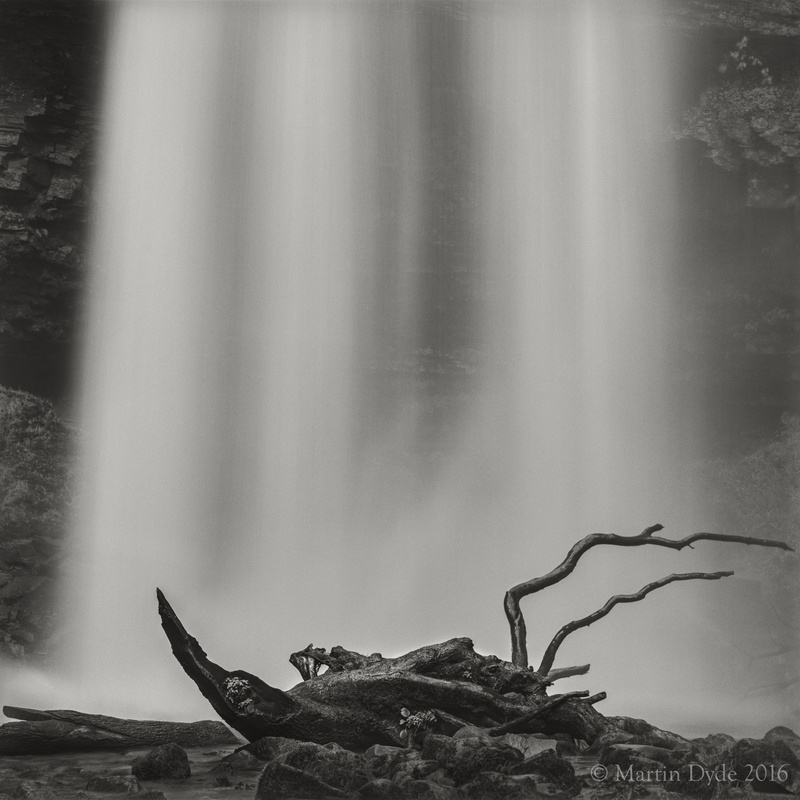 Waterfall and fallen trees, Henryhd Falls, Brecon Beacons, Wales | The Silver Monochrome: black-and-white film photography by Martin Dyde