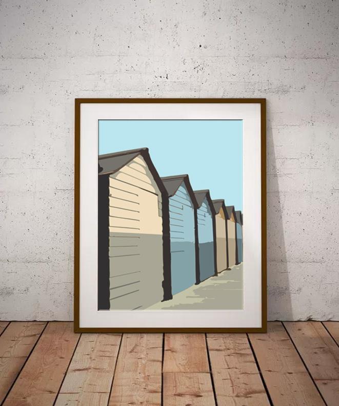 Beach Hut Sunrise Limited edition digital art print by Dorset Artist Maxine Walter