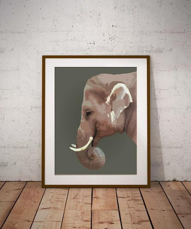 Elephant Limited edition digital art print by Dorset Artist Maxine Walter