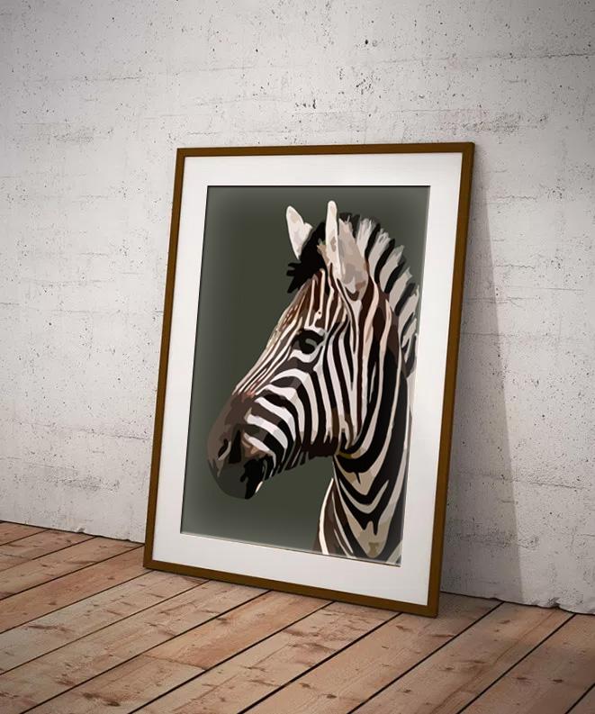 Zebra Limited edition digital art print by Dorset Artist Maxine Walter