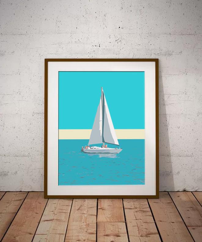 Sailing boat blue wall art by Dorset Artist Maxine Walter